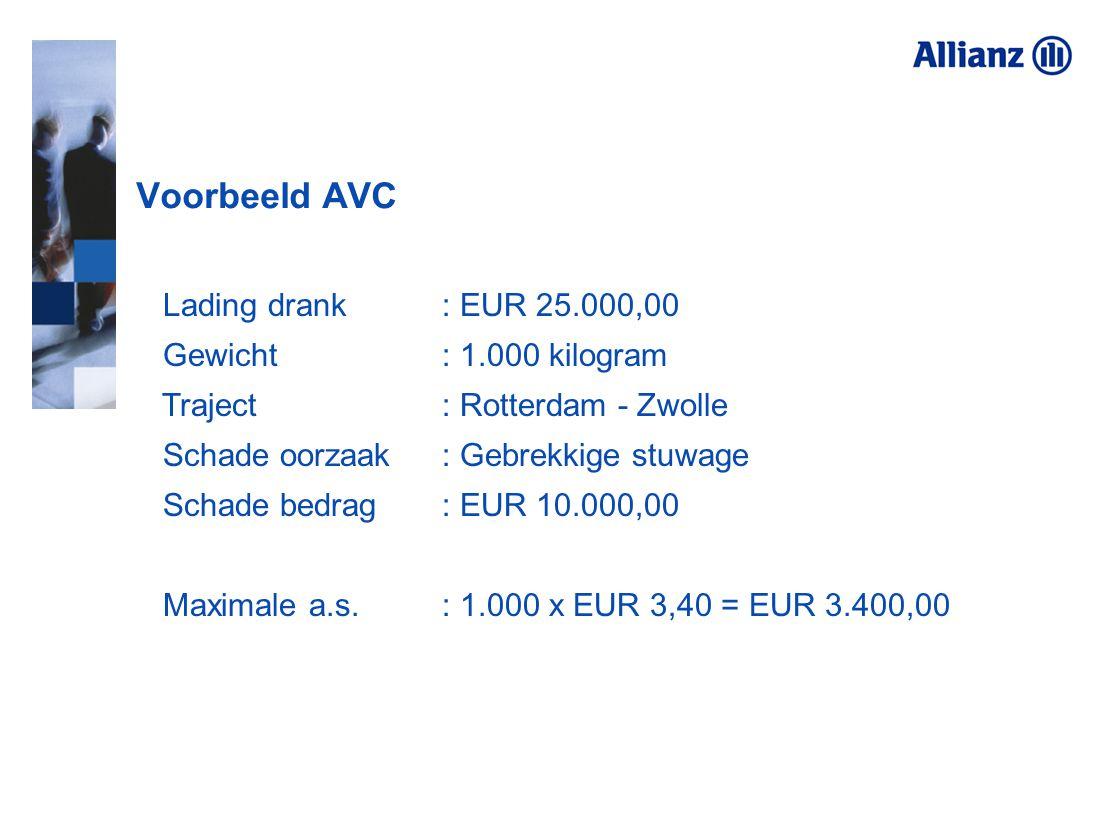 Voorbeeld AVC Lading drank : EUR 25.000,00 Gewicht : 1.000 kilogram