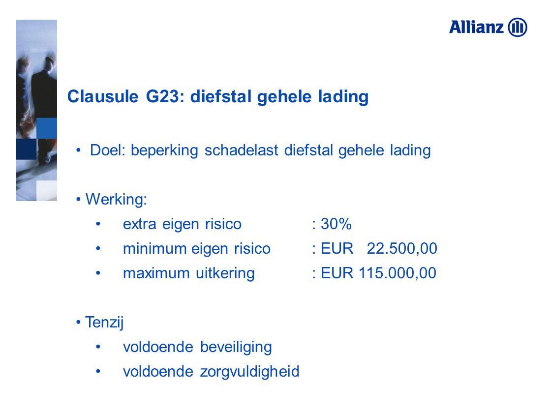 Clausule G23: diefstal gehele lading