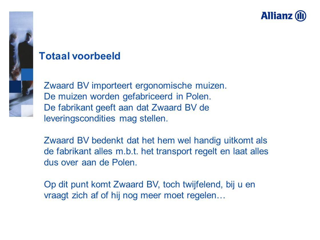 Totaal voorbeeld Zwaard BV importeert ergonomische muizen.