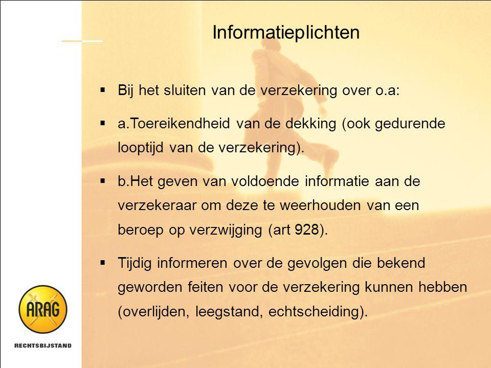 Informatieplichten Bij het sluiten van de verzekering over o.a: