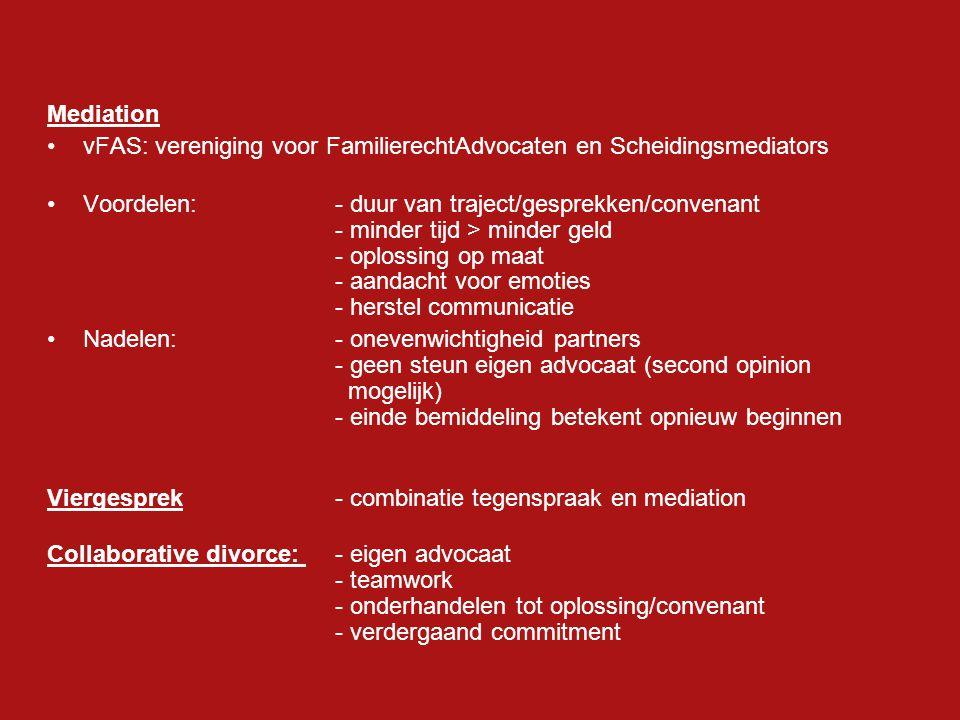 Mediation vFAS: vereniging voor FamilierechtAdvocaten en Scheidingsmediators.