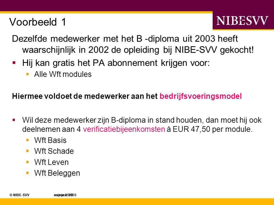 Voorbeeld 1 Dezelfde medewerker met het B -diploma uit 2003 heeft waarschijnlijk in 2002 de opleiding bij NIBE-SVV gekocht!