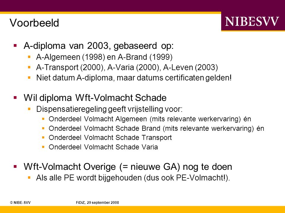 Voorbeeld A-diploma van 2003, gebaseerd op: