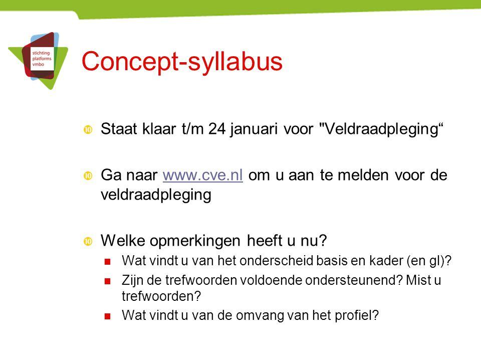 Concept-syllabus Staat klaar t/m 24 januari voor Veldraadpleging