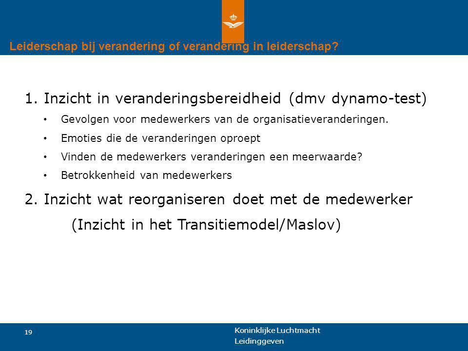 1. Inzicht in veranderingsbereidheid (dmv dynamo-test)