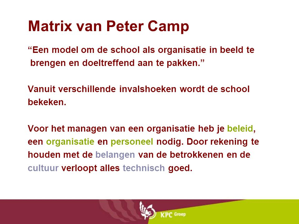 Matrix van Peter Camp Een model om de school als organisatie in beeld te. brengen en doeltreffend aan te pakken.