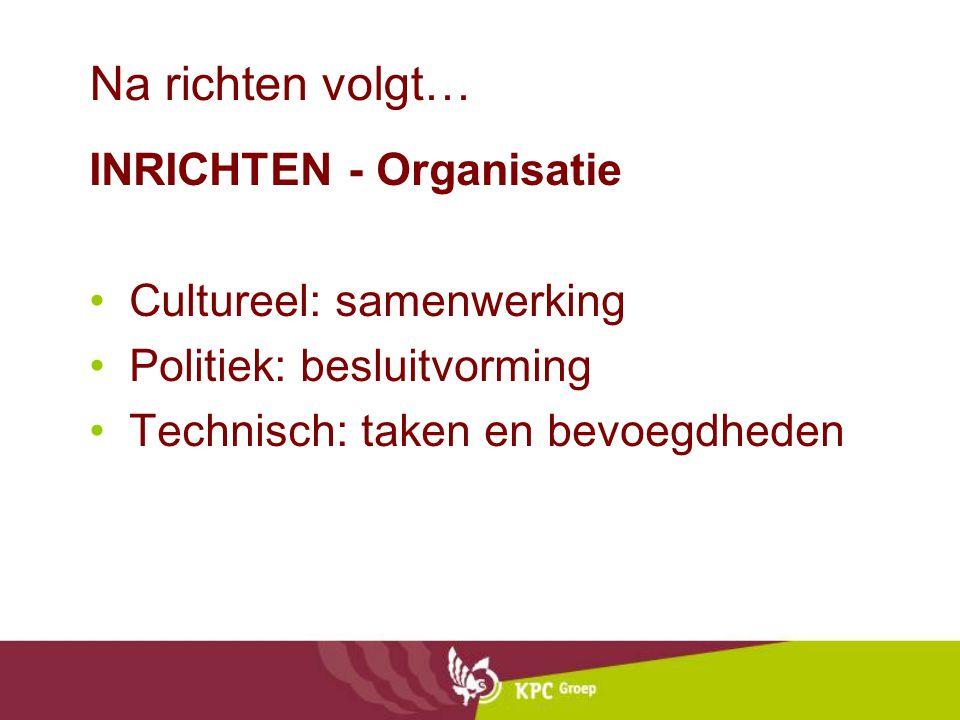 Na richten volgt… INRICHTEN - Organisatie Cultureel: samenwerking