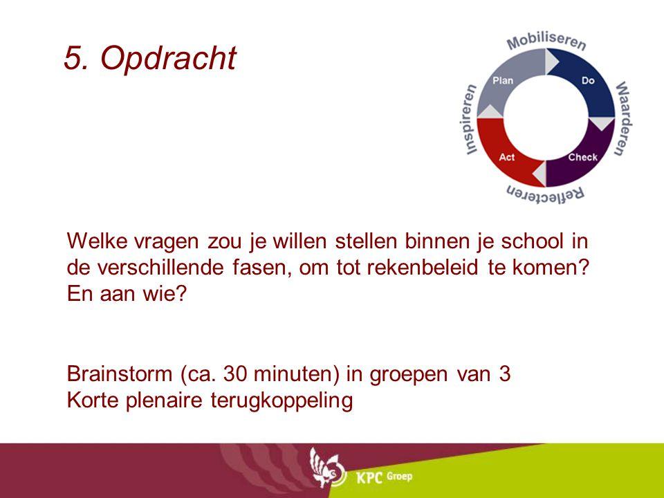 5. Opdracht Welke vragen zou je willen stellen binnen je school in de verschillende fasen, om tot rekenbeleid te komen En aan wie