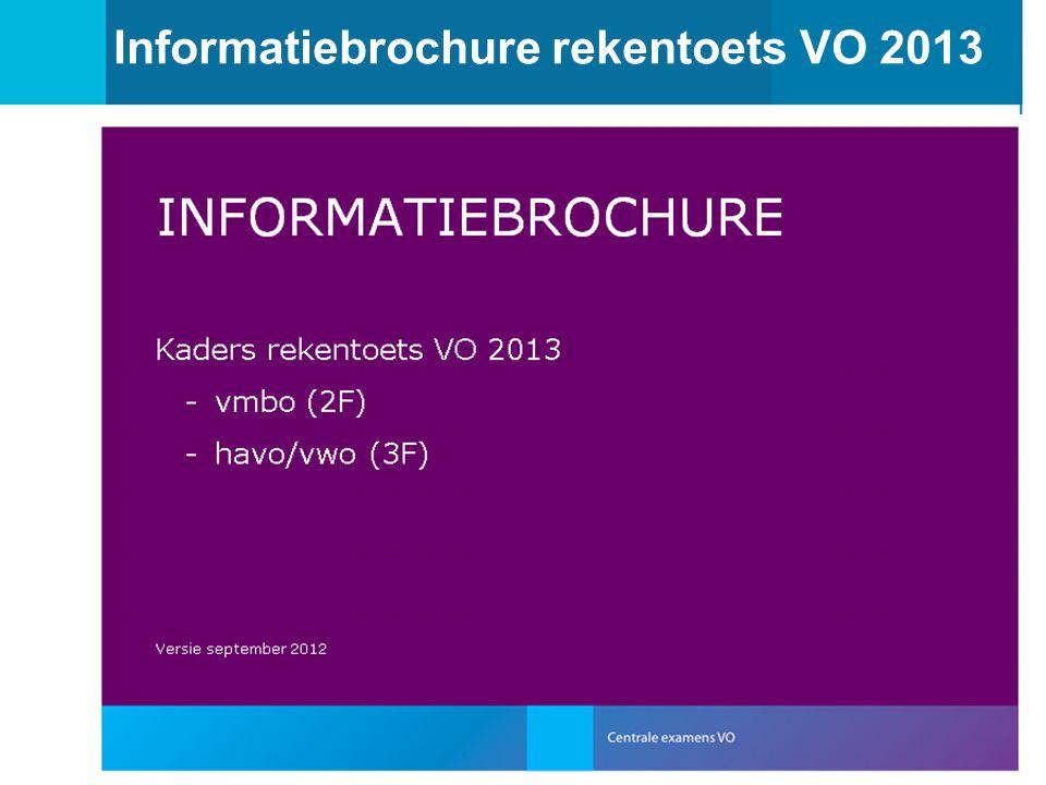 Informatiebrochure rekentoets VO 2013