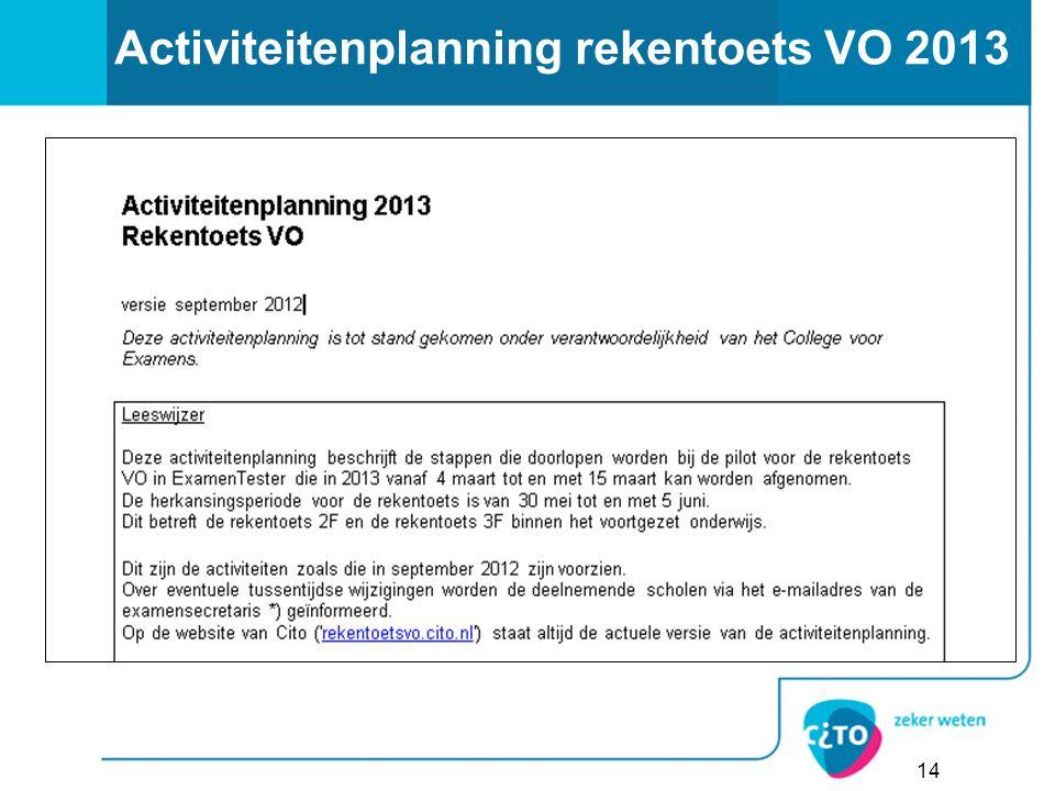 Activiteitenplanning rekentoets VO 2013