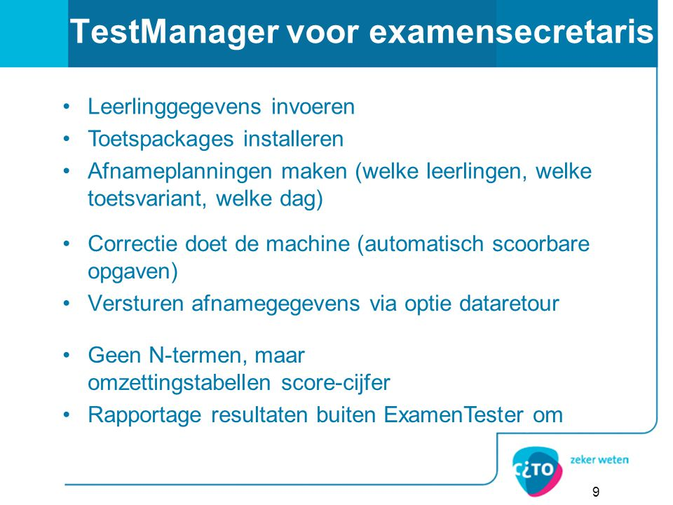 TestManager voor examensecretaris