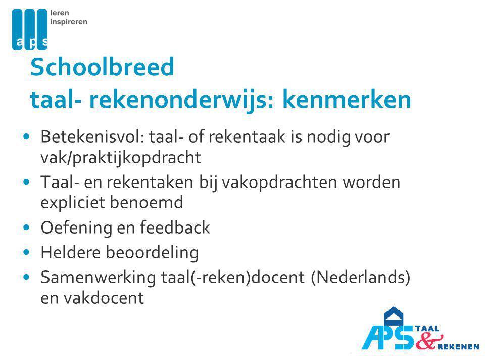Schoolbreed taal- rekenonderwijs: kenmerken