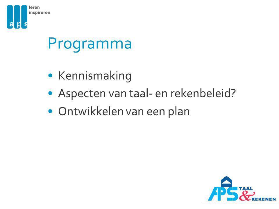 Programma Kennismaking Aspecten van taal- en rekenbeleid