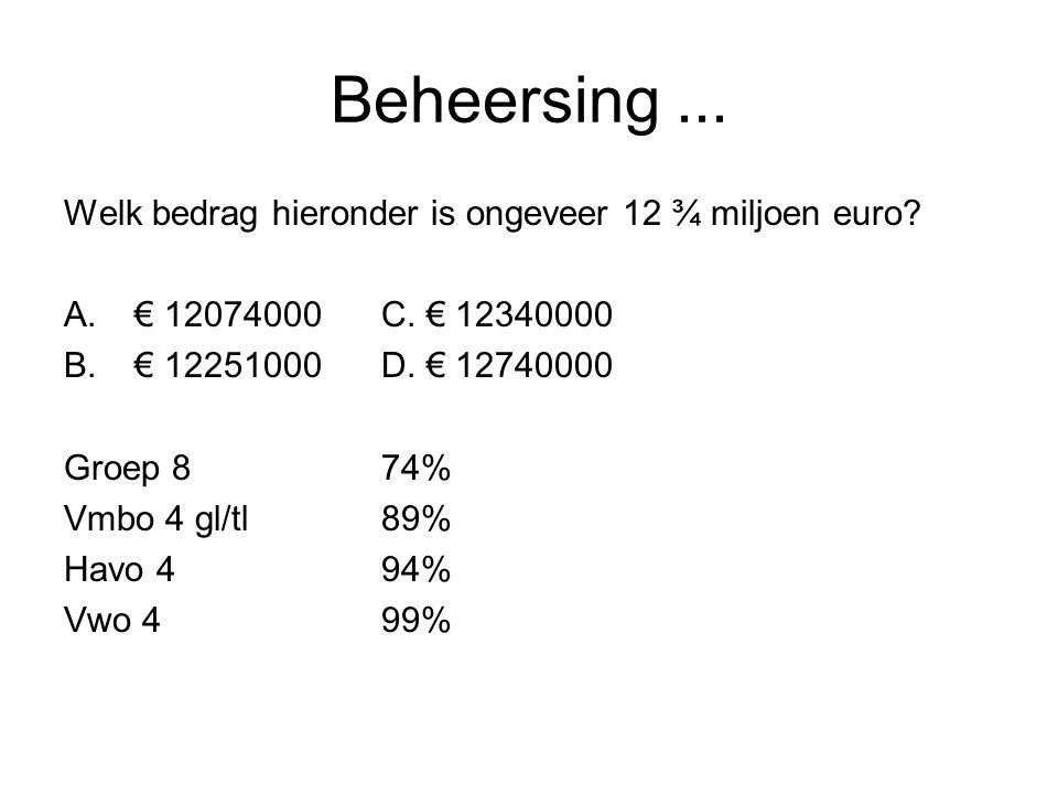 Beheersing ... Welk bedrag hieronder is ongeveer 12 ¾ miljoen euro