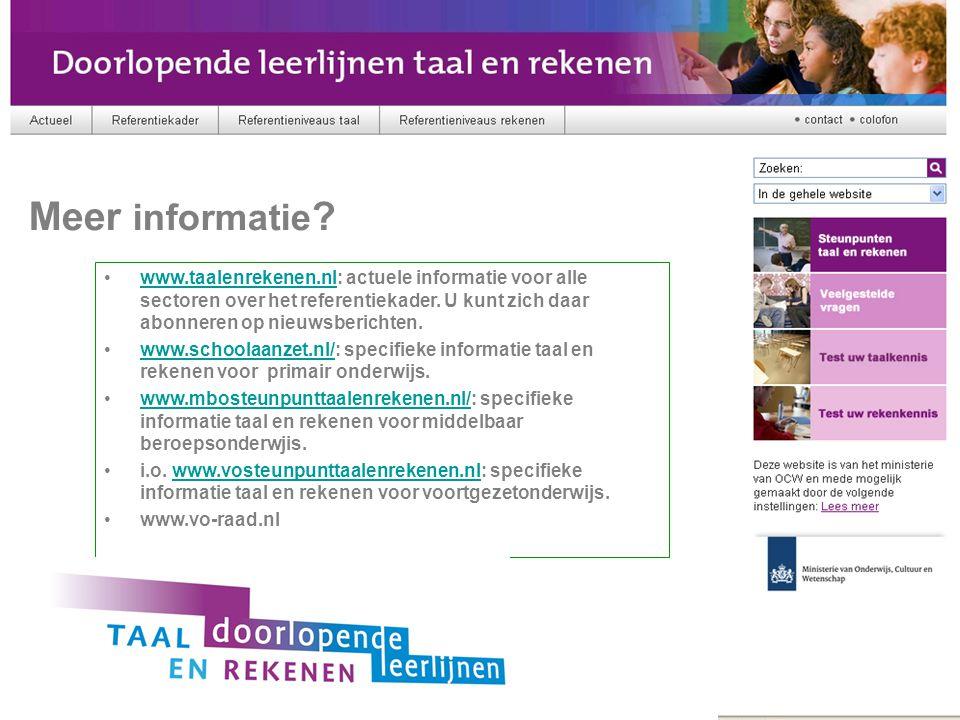 Meer informatie Referentiekader