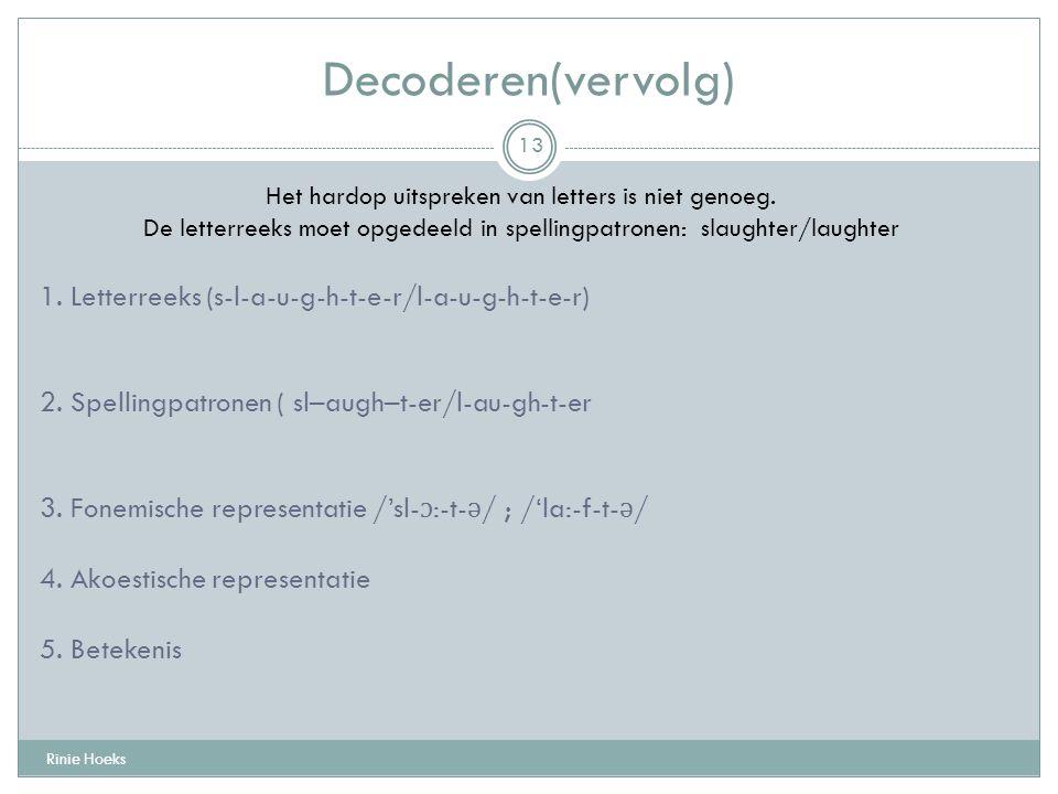 Decoderen(vervolg) 1. Letterreeks (s-l-a-u-g-h-t-e-r/l-a-u-g-h-t-e-r)