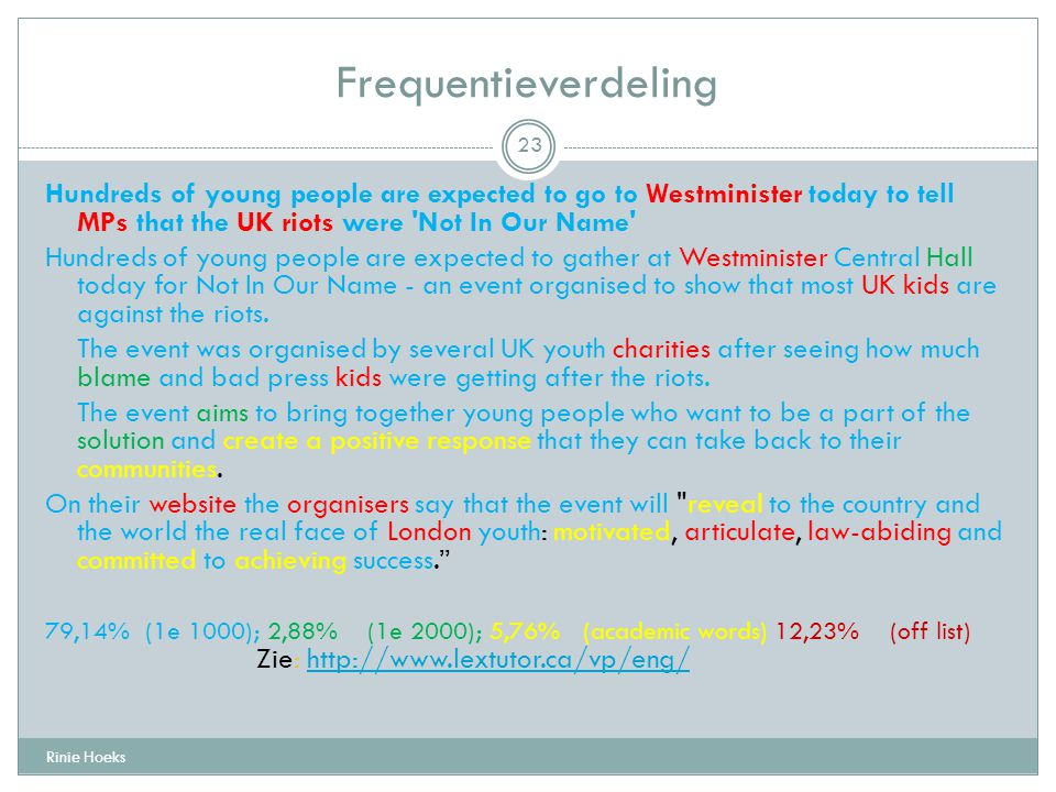 Frequentieverdeling Hundreds of young people are expected to go to Westminister today to tell MPs that the UK riots were Not In Our Name