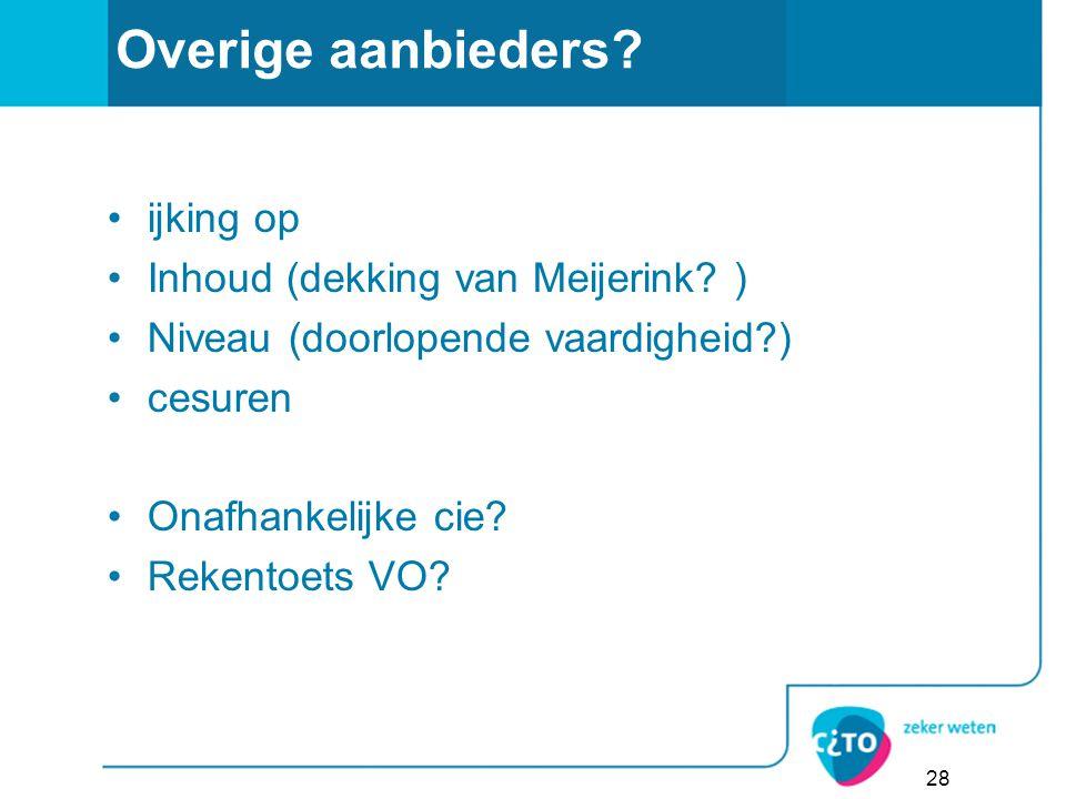 Overige aanbieders ijking op Inhoud (dekking van Meijerink )