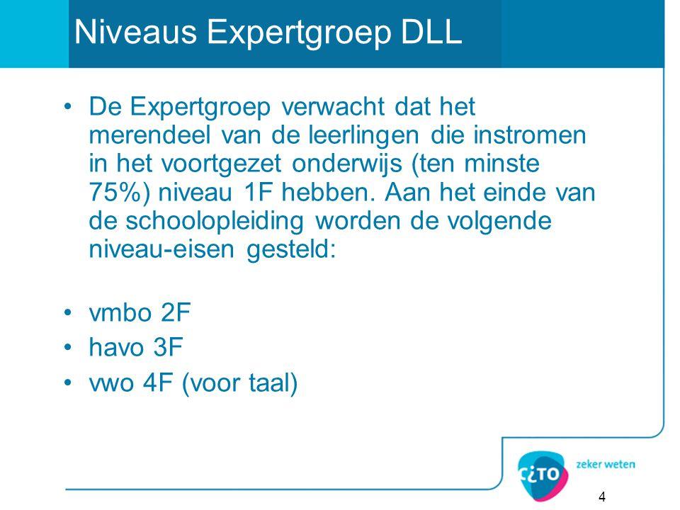 Niveaus Expertgroep DLL