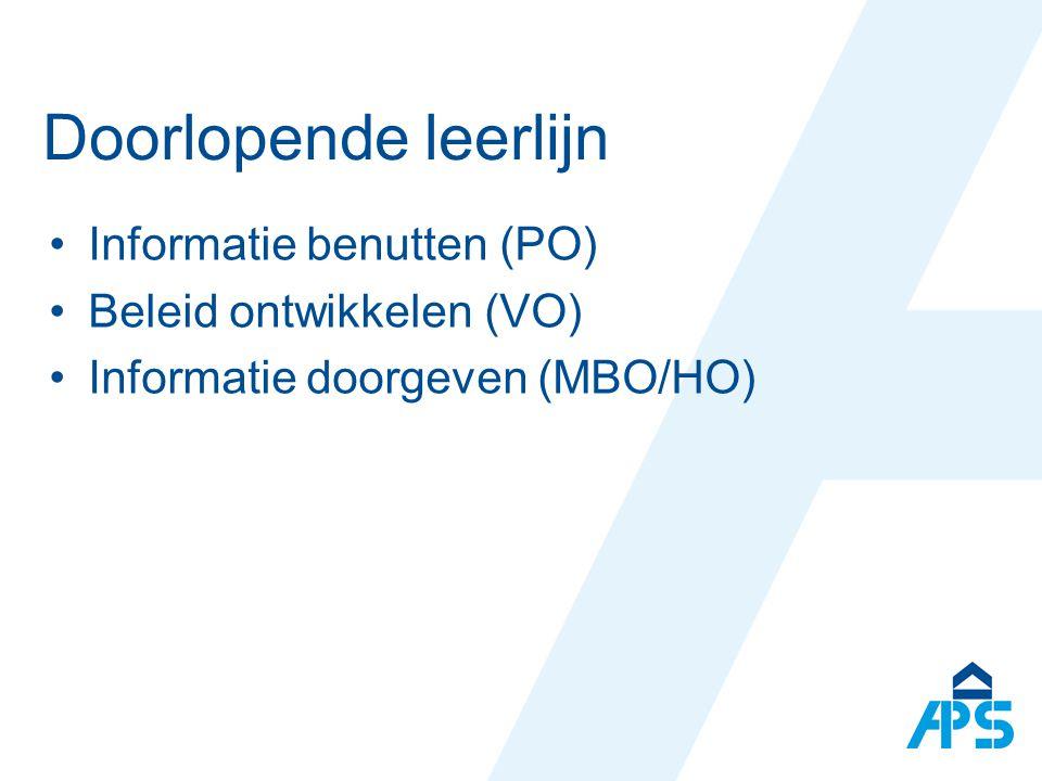Doorlopende leerlijn Informatie benutten (PO) Beleid ontwikkelen (VO)