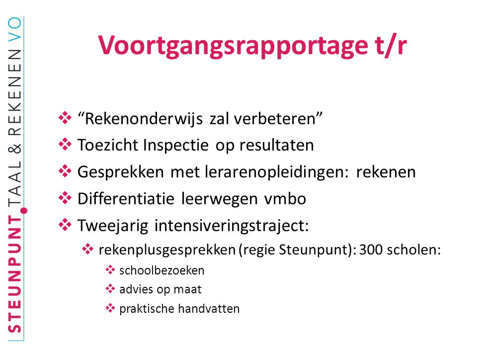 Voortgangsrapportage t/r