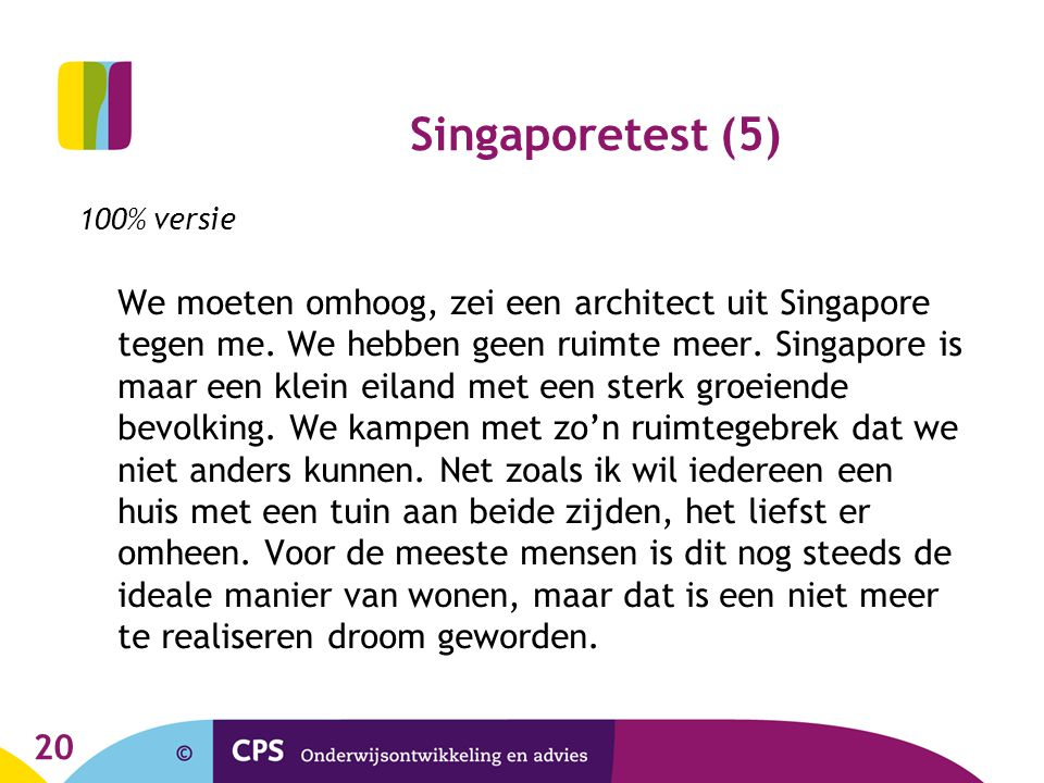 Singaporetest (5) 100% versie