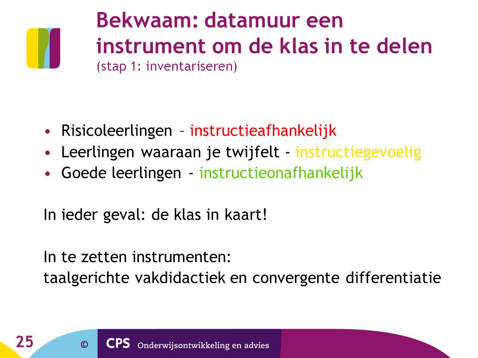 Bekwaam: datamuur een instrument om de klas in te delen (stap 1: inventariseren)