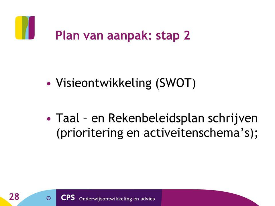 Plan van aanpak: stap 2 Visieontwikkeling (SWOT) Taal – en Rekenbeleidsplan schrijven (prioritering en activeitenschema's);