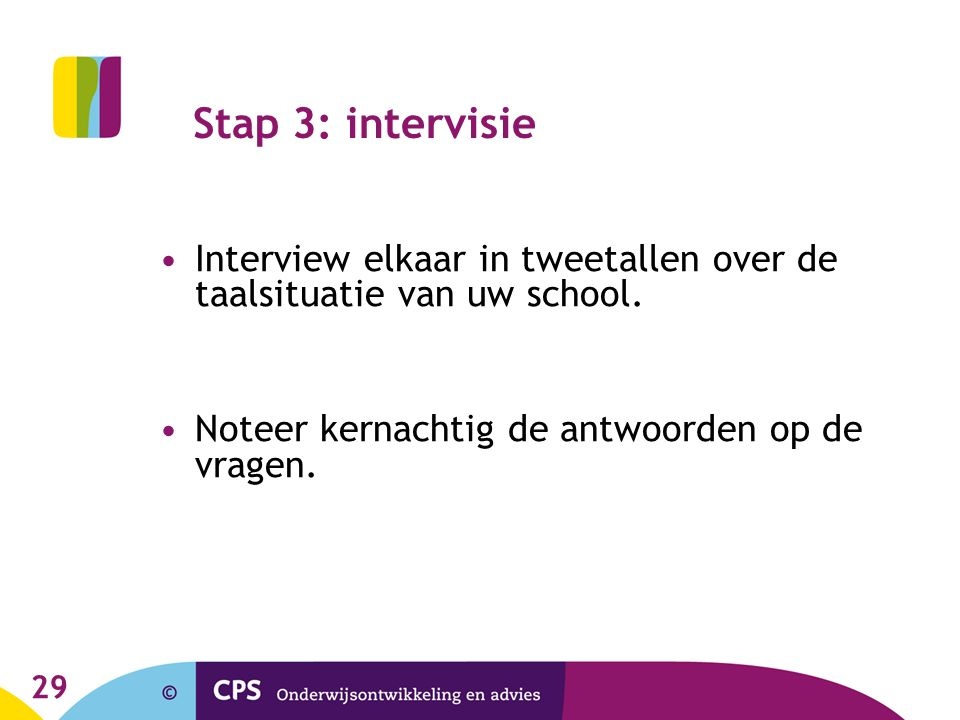 Stap 3: intervisie Interview elkaar in tweetallen over de taalsituatie van uw school. Noteer kernachtig de antwoorden op de vragen.