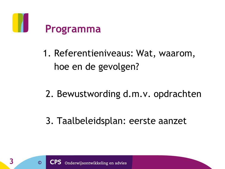 Programma 1. Referentieniveaus: Wat, waarom, hoe en de gevolgen
