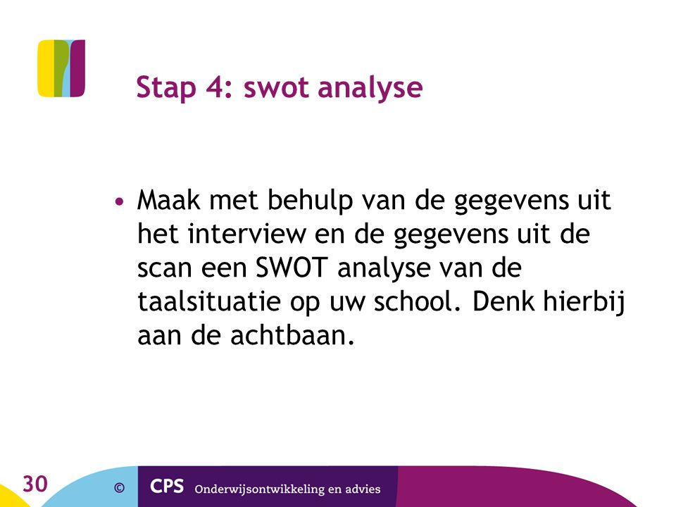 Stap 4: swot analyse
