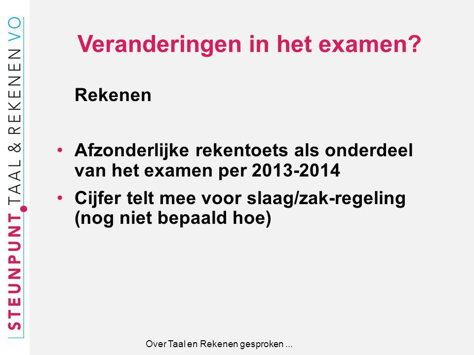 Veranderingen in het examen