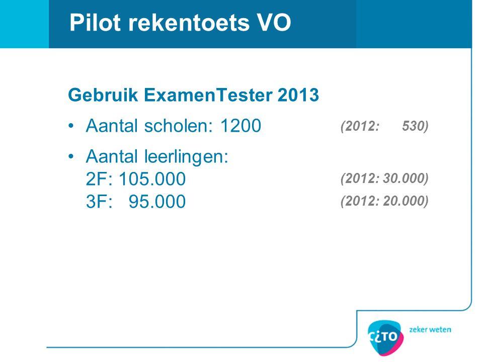 Pilot rekentoets VO Gebruik ExamenTester 2013 Aantal scholen: 1200