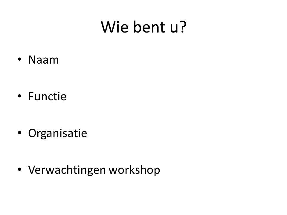 Wie bent u Naam Functie Organisatie Verwachtingen workshop
