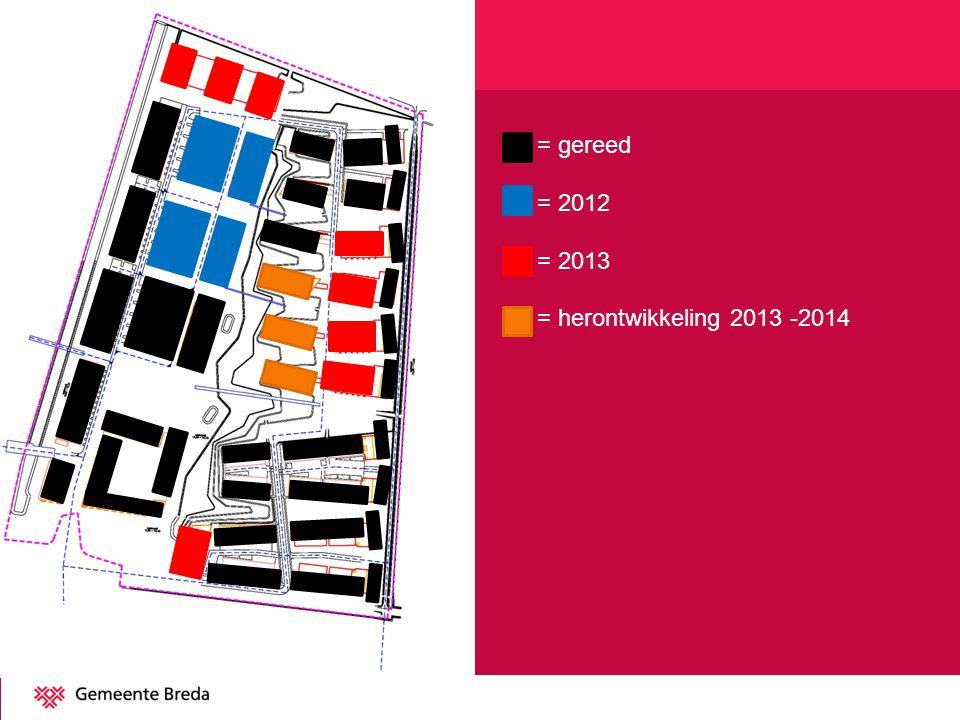 O = gereed O = 2012 O = 2013 O = herontwikkeling 2013 -2014