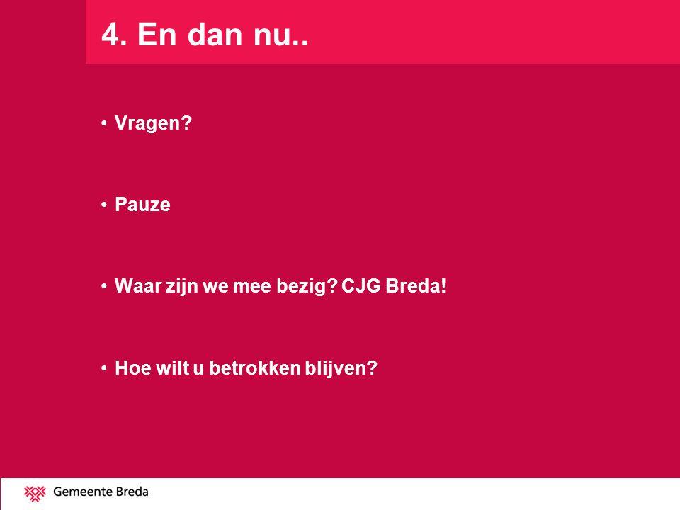 4. En dan nu.. Vragen Pauze Waar zijn we mee bezig CJG Breda!