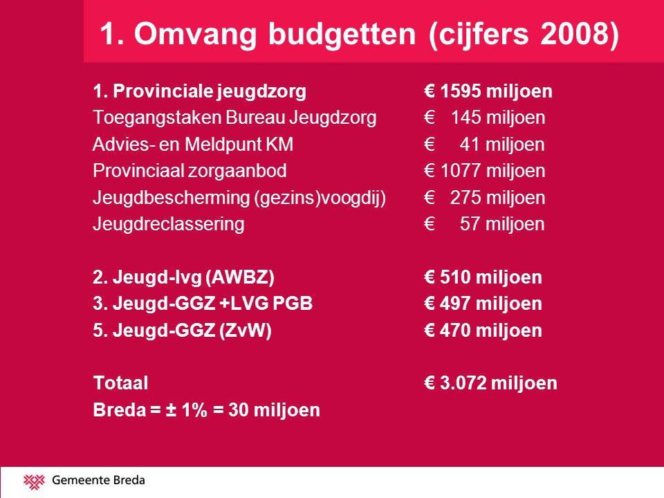 1. Omvang budgetten (cijfers 2008)