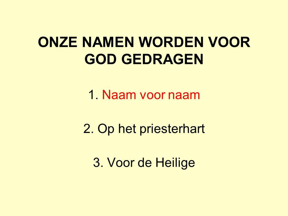 ONZE NAMEN WORDEN VOOR GOD GEDRAGEN