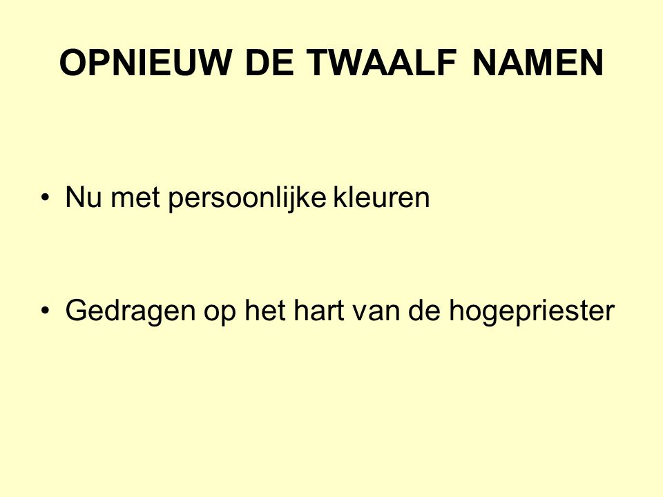OPNIEUW DE TWAALF NAMEN