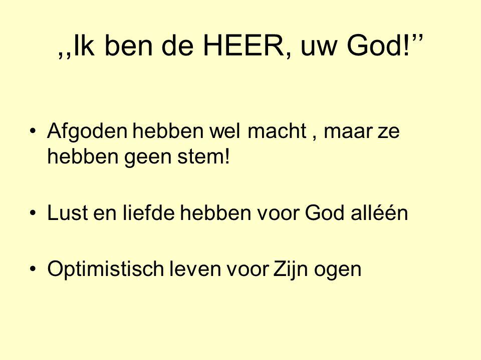 ,,Ik ben de HEER, uw God!'' Afgoden hebben wel macht , maar ze hebben geen stem! Lust en liefde hebben voor God alléén.