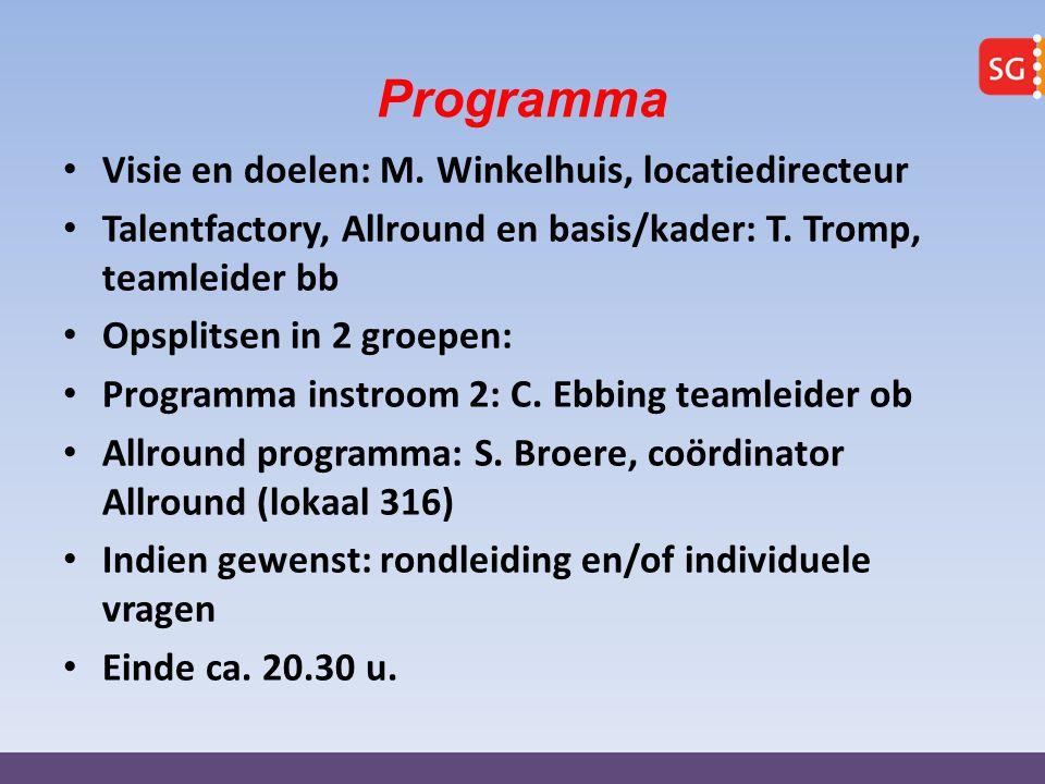 Programma Visie en doelen: M. Winkelhuis, locatiedirecteur