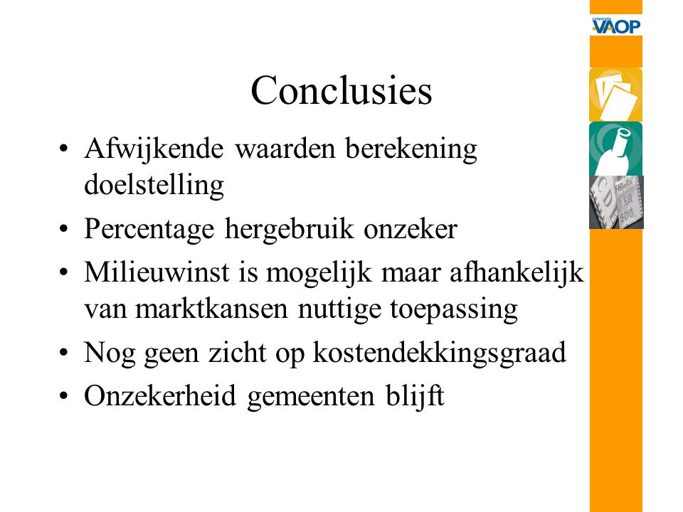 Conclusies Afwijkende waarden berekening doelstelling