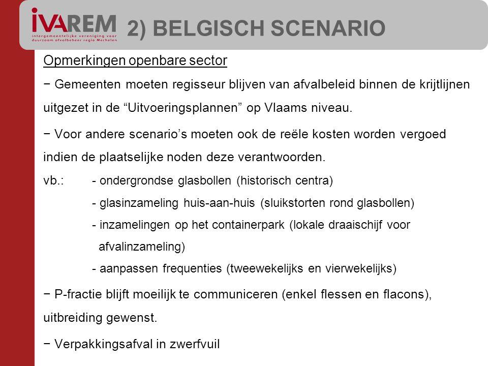2) BELGISCH SCENARIO Opmerkingen openbare sector