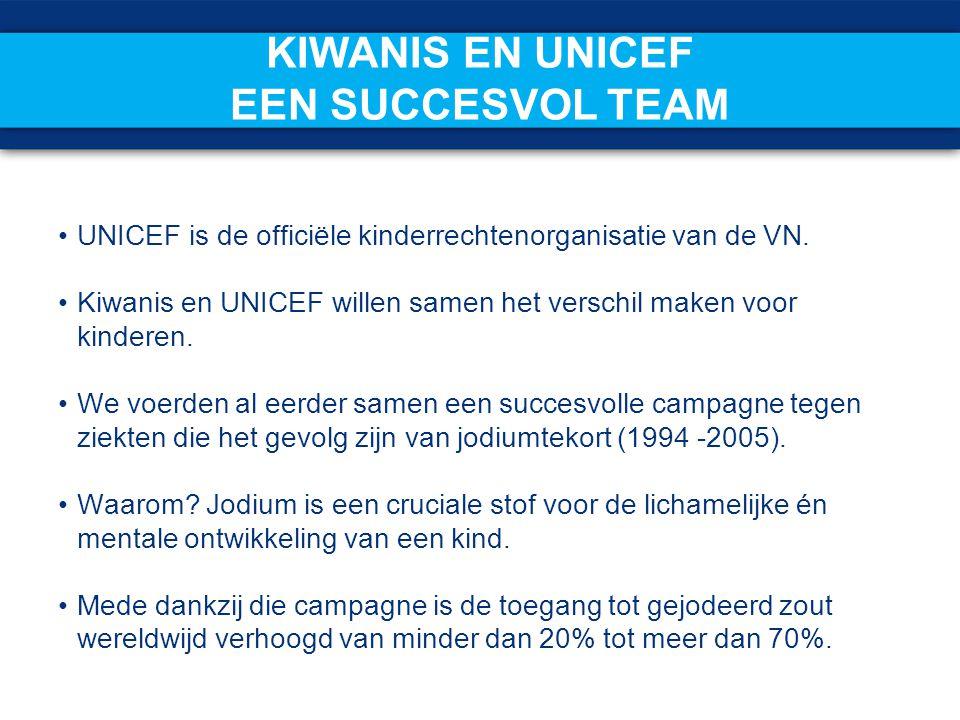 Kiwanis en UNICEF Een succesvol team