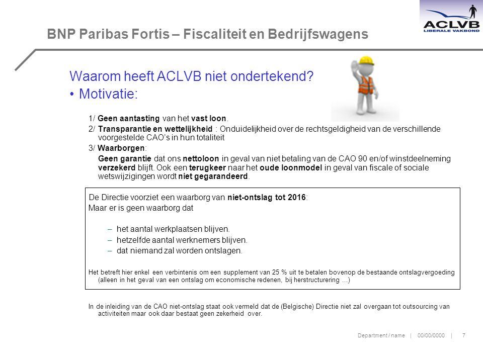 BNP Paribas Fortis – Fiscaliteit en Bedrijfswagens