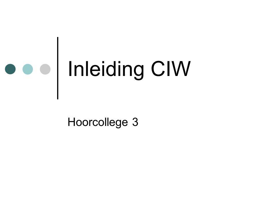 Inleiding CIW Hoorcollege 3