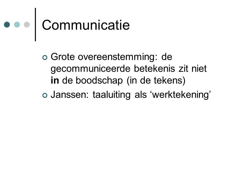 Communicatie Grote overeenstemming: de gecommuniceerde betekenis zit niet in de boodschap (in de tekens)