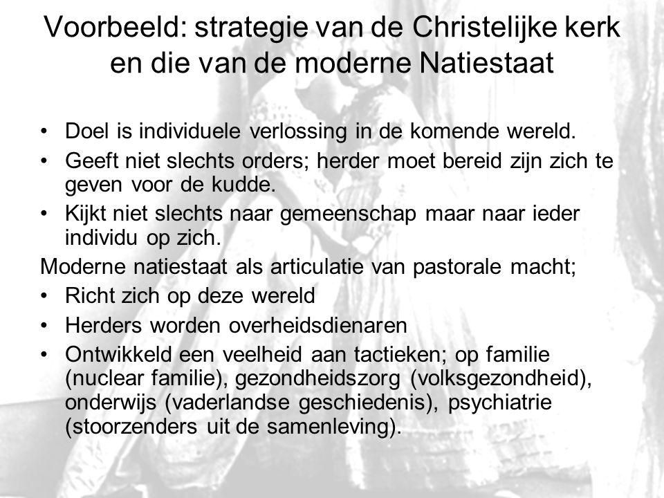Voorbeeld: strategie van de Christelijke kerk en die van de moderne Natiestaat