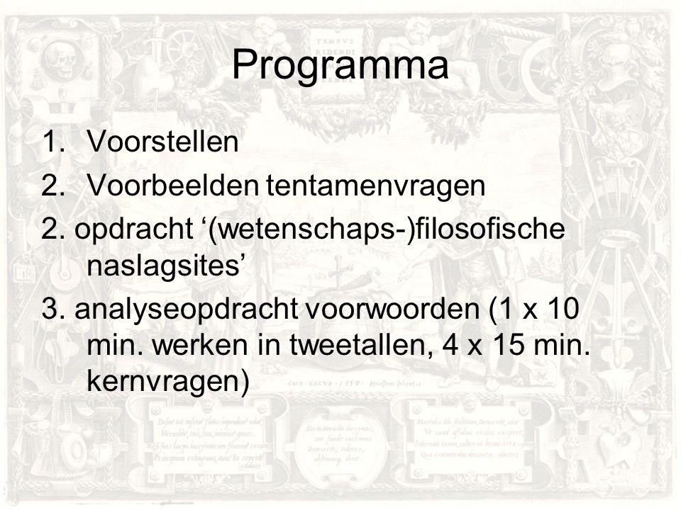 Programma Voorstellen Voorbeelden tentamenvragen