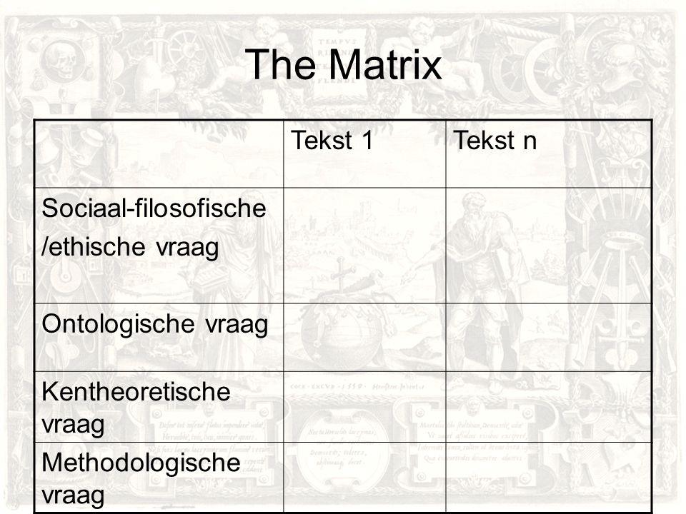 The Matrix Tekst 1 Tekst n Sociaal-filosofische /ethische vraag